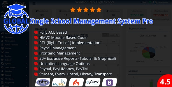 Global  – Global Single School Management System Pro Nulled