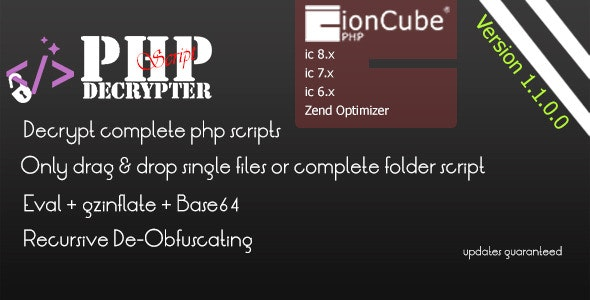 IONCUBE Decoder – PHPScript Decrypter Pro Nulled